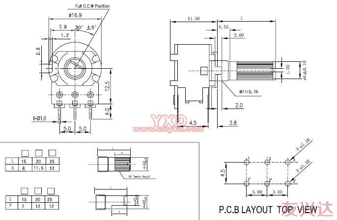 电位器WH148-2参考图纸