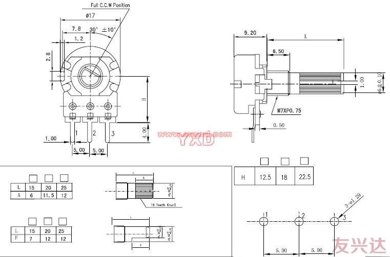 电位器WH148-1参考图纸