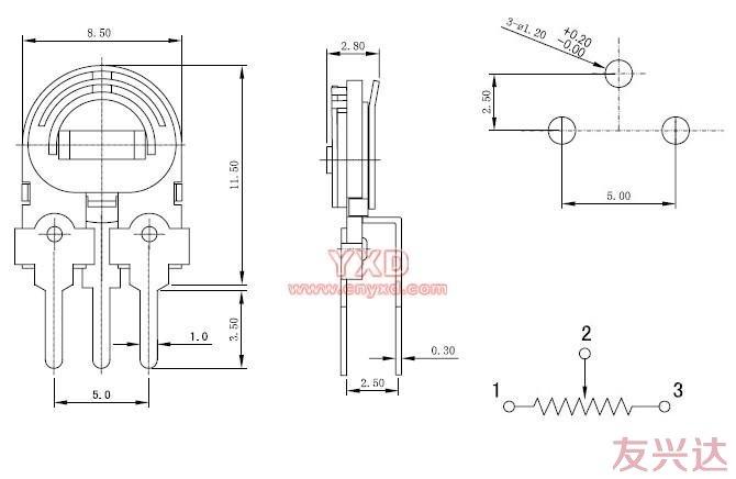 可调电阻RM085C-H2参考图纸