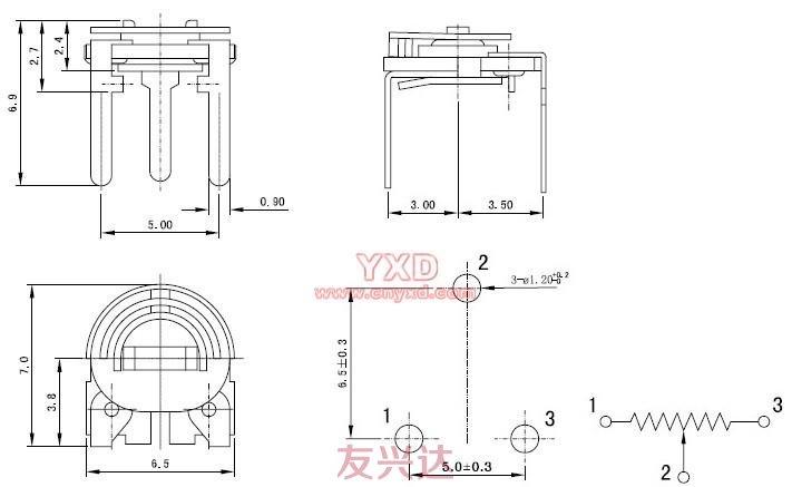 可调电阻RM065C-V2参考图纸