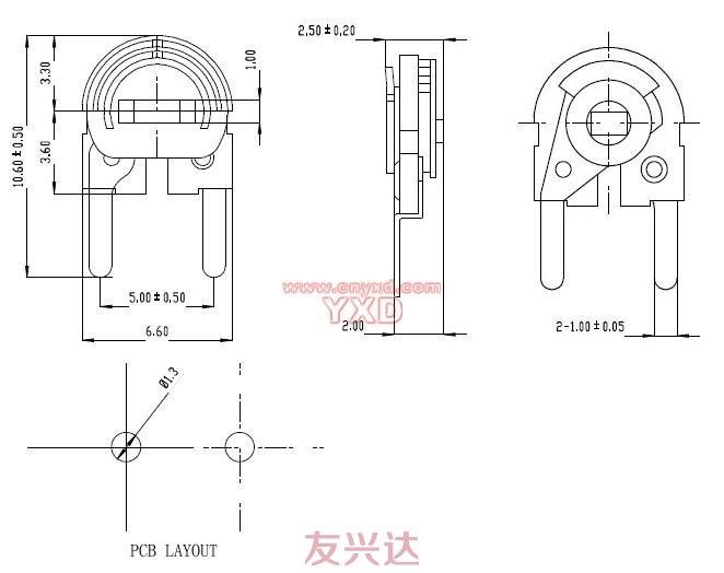 可调电阻RM065C-H2参考图纸