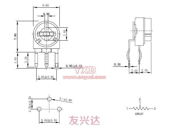 三脚贴片电位器型号RM063-H3图纸
