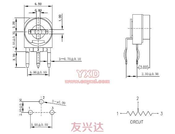 三脚贴片电位器型号RM063-H1