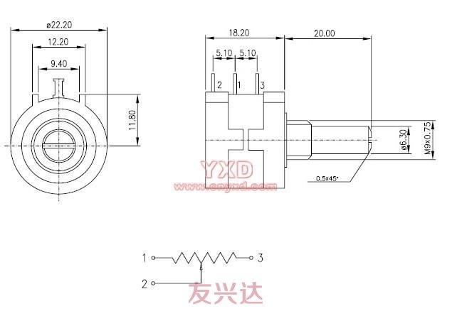 3590电位器_3590S_规格尺寸图