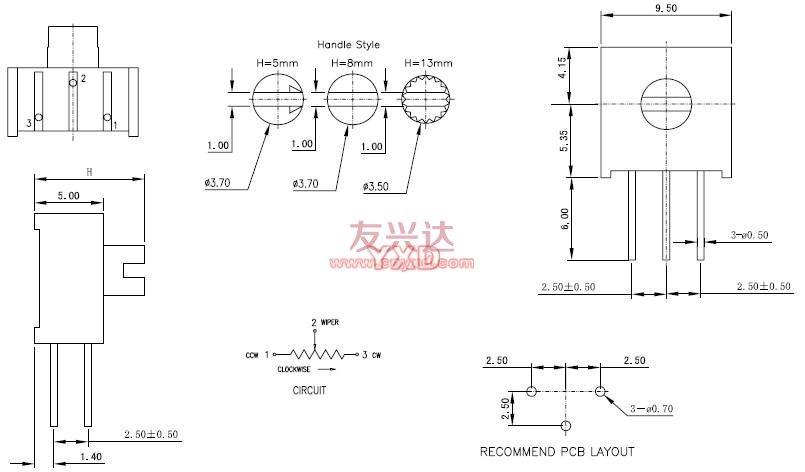 3386x可调电阻参考图纸