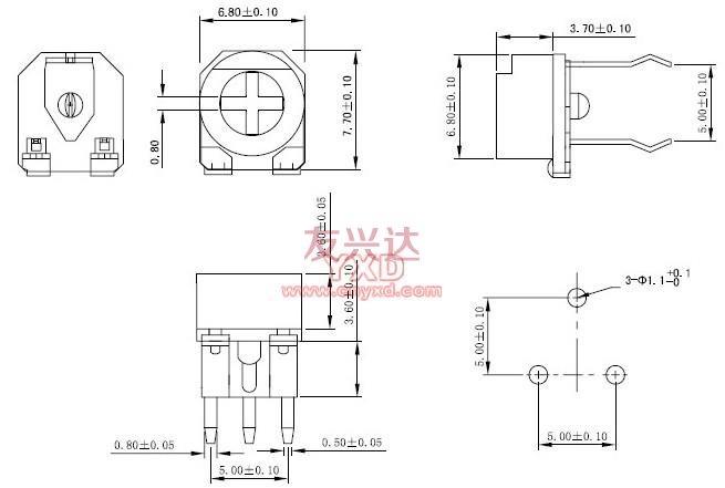 可调电阻RM065G-V4参考图纸