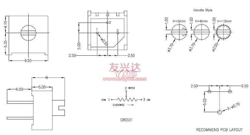 3386F可调电阻参考图纸