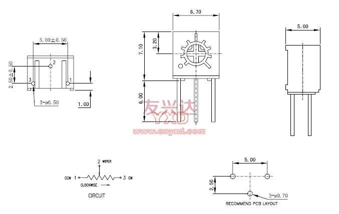 精密电位器3362W参考图纸