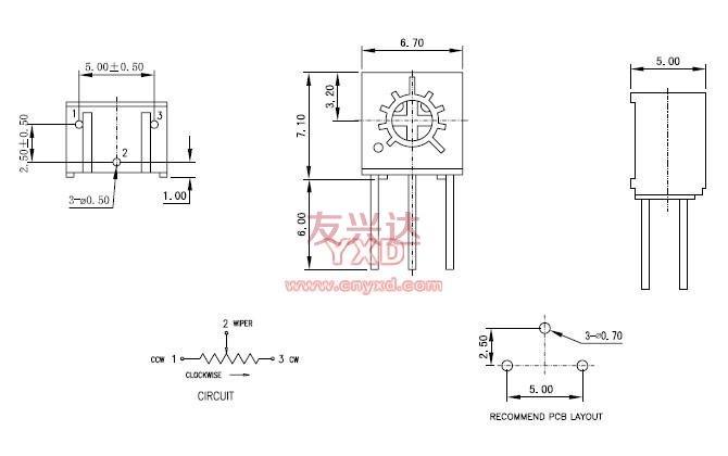 精密电位器3362S参考图纸