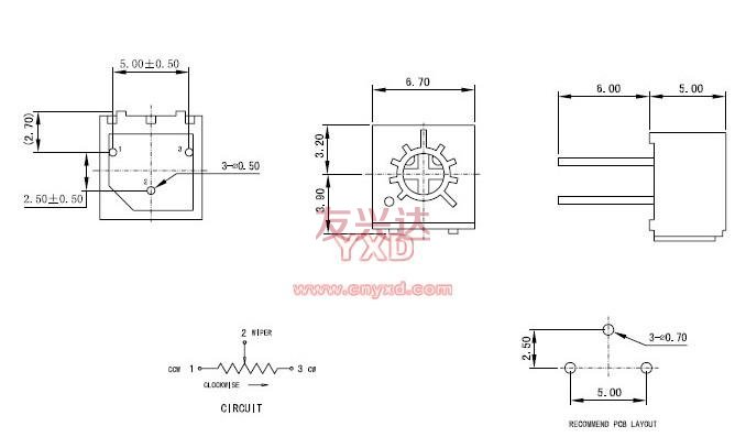 3362h可调电阻参考图纸