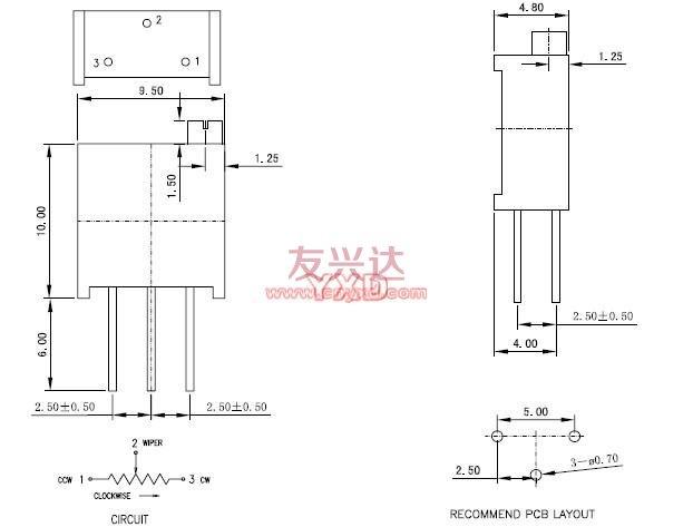 多圈电位器3296Y规格图纸