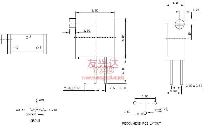多圈电位器3296Z规格图纸
