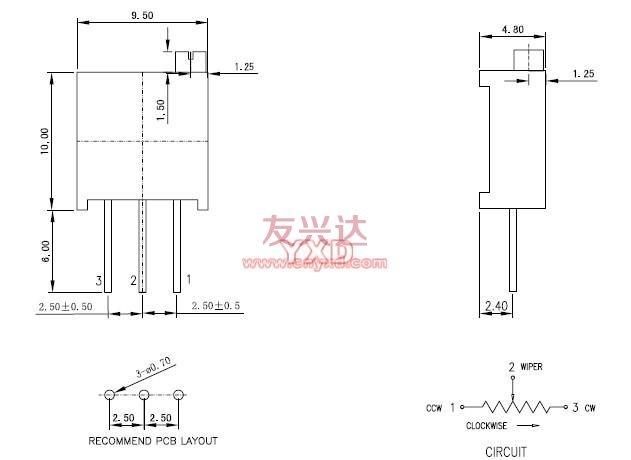 3296电位器_3296W_规格尺寸图