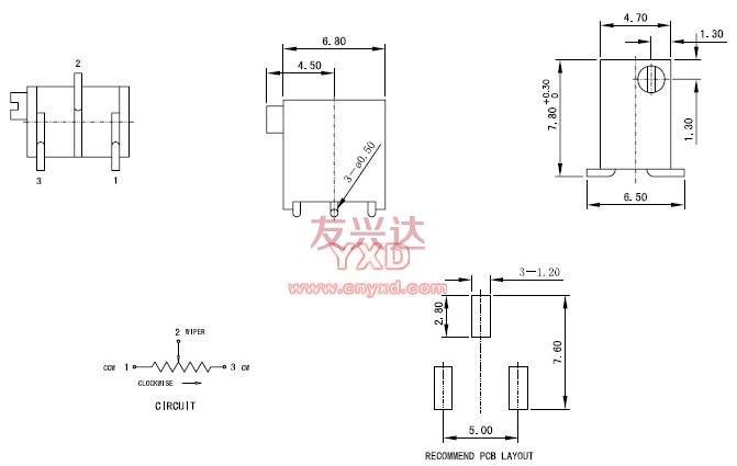多圈电位器3296X规格图纸