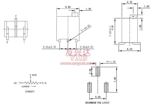 3296W电位器引脚接法
