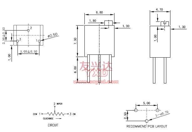 精密电位器3266W参考图纸