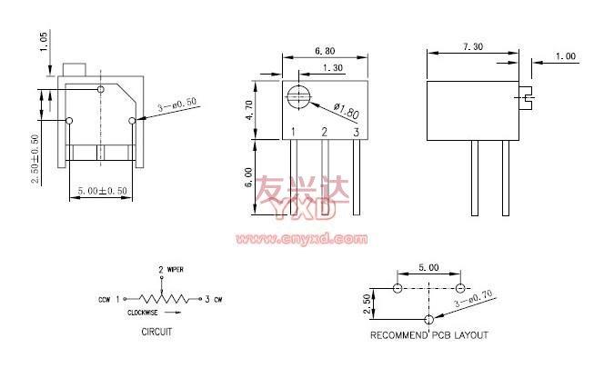 3266P电位器_规格尺寸图