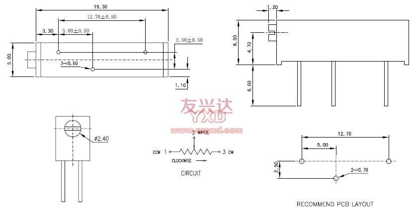 精密电位器3006P参考图纸