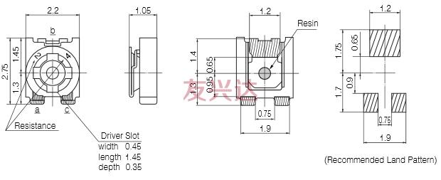 松下电位器EVM2W产品图纸