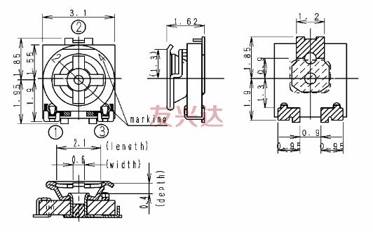 松下电位器EVM3E产品图纸